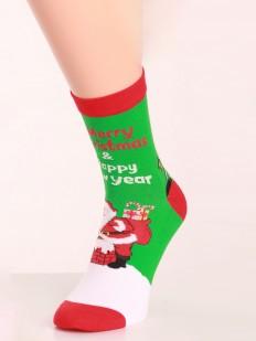 Мужские новогодние носки с цветным принтом и поздравительными надписями