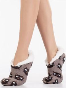 Теплые короткие меховые женские носки с рисунком кошечек