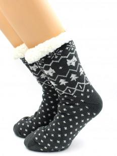 Теплые мужские носки с мехом и этническим зимним орнаментом