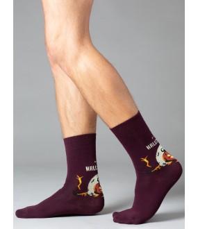 Бордовые мужские носки на Хэллоуин с тематическим принтом