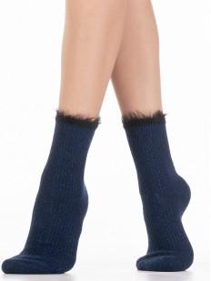 Высокие теплые женские носки с блестящим люрексом и пушком