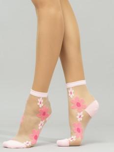 Модные укороченные женские носки с цветочками