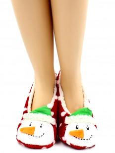 Короткие теплые женские носки тапочки со снеговиками и мехом внутри