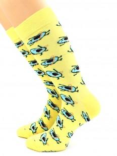 Высокие желтые носки унисекс с принтом авокадо