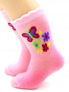 Детские розовые носки для девочек с бабочками и цветочками
