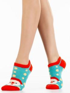 Короткие новогодние женские носки в горошек с Дед Морозом