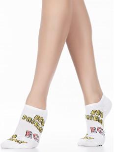 Короткие женские хлопковые носки с яркими надписями