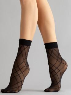 Капроновые фантазийные женские носки с геометрическим рисунком в полоску