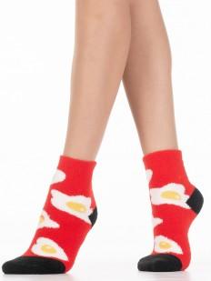 Махровые красные женские носки с принтом яичницей