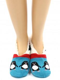 Женские короткие теплые носки тапочки с мехом внутри