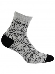 Хлопковые женские серые носки с принтом сова