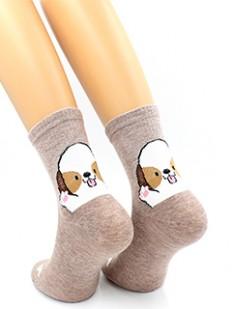 Хлопковые женские высокие носки с собачками