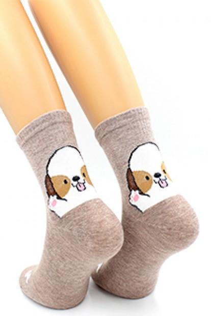 Хлопковые женские носки с собачками HOBBY LINE 420-1