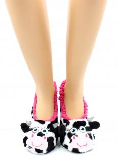Короткие теплые женские носки тапочки с коровками и мехом внутри