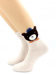 Высокие женские хлопковые носки с мишкой
