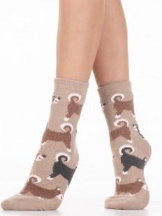 Махровые коричневые женские носки с собачками