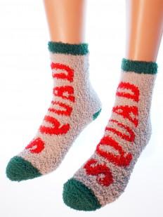 Новогодние махровые женские носки с надписью SQUAD