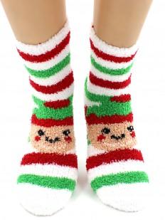 Махровые новогодние носки в полоску с эльфами