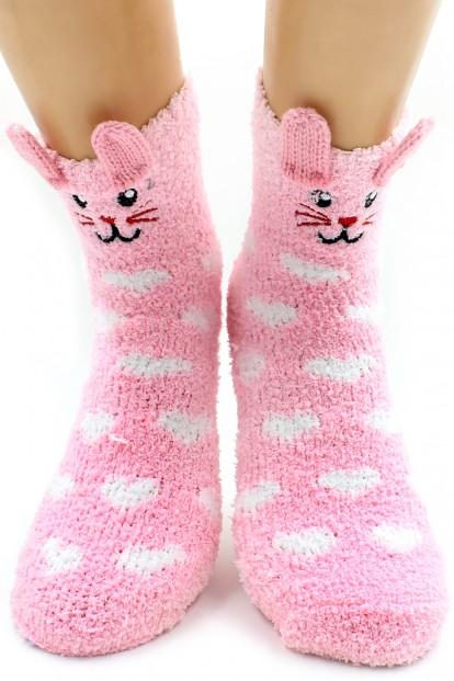 Женские высокие махровые носки с зайчиками HOBBY LINE 2359-1