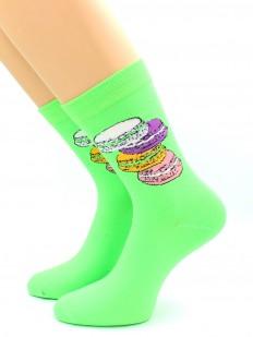 Яркие носки с цветным принтом пирожных макарони