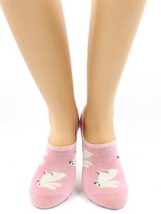 Короткие хлопковые женские носки с зайчиками