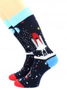 Высокие хлопковые носки с космическим кораблем