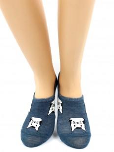 Короткие летние женские носки хлопковые с принтом кошечки