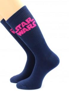 Высокие синие носки с розовой надписью STAR WARS