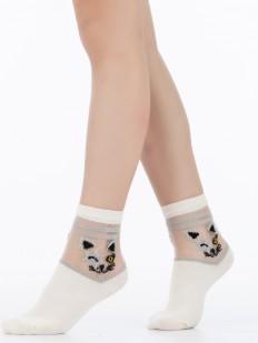 Цветные детские носки с котиками и люрексом на прозрачной мононити