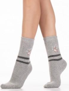 Теплые высокие женские носки с оленями и полосками