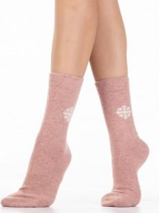 Высокие теплые женские носки в разных оттенках со снежинкой