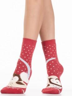 Теплые высокие женские носки с совятами и махрой внутри