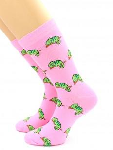 Яркие высокие носки из хлопка с рисунком хамелеоны