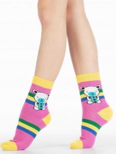 Детские цветные носки с мишками и яркими полосками