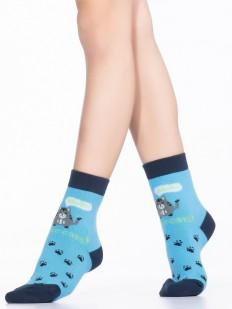Детские хлопковые носки с кошечками и следами лапок