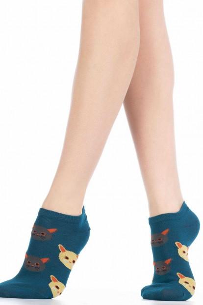Хлопковые короткие женские носки с кошечками HOBBY LINE 511-6