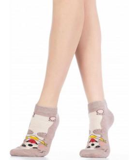Хлопковые короткие женские носки с собачками