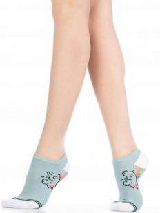 Хлопковые летние женские носки с единорогом на радуге