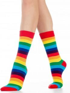 Хлопковые модные женские цветные носки с радугой