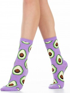Хлопковые модные женские носки с авокадо фиолетовые