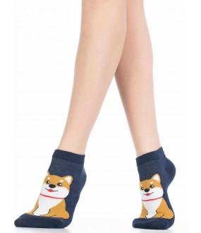 Хлопковые укороченные женские носки с собачками