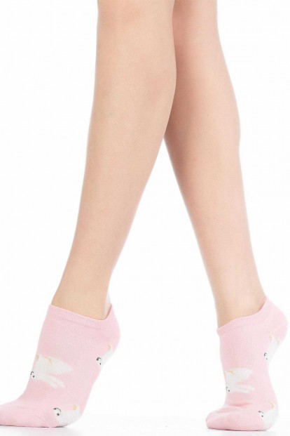 Хлопковые укороченные женские носки с зайчиками HOBBY LINE 512-17
