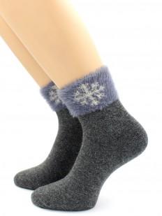Зимние женские носки с пухом и рисунком в виде снежинок