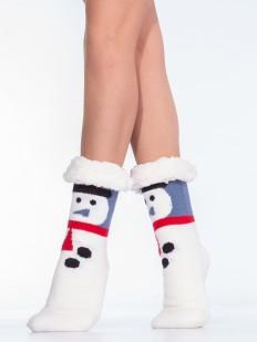 Новогодние женские меховые носки со снеговиком