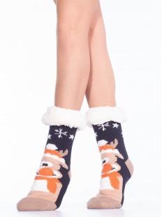Высокие теплые женские новогодние носки с мехом внутри