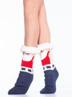 Высокие женские новогодние носки с мехом и принтом Дед Мороз