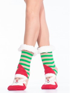 Высокие женские новогодние носки в полоску с принтом Дед Мороз