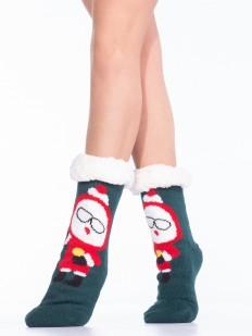 Теплые женские носки с мехом и новогодним принтом
