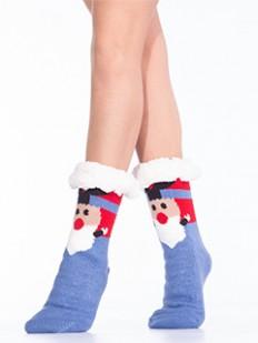 Теплые новогодние женские носки с мехом для подарка
