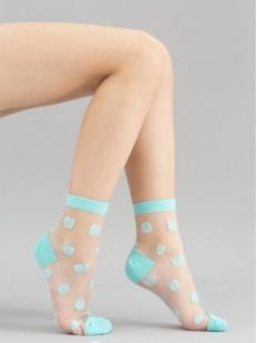 Прозрачные детские носочки в крупный цветной горошек